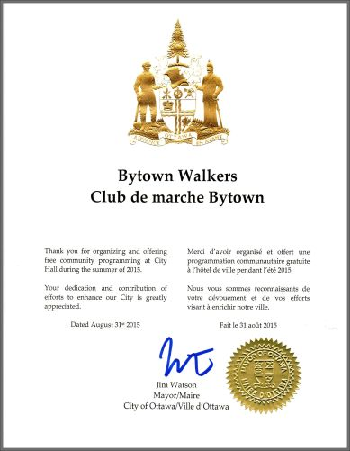 Bytown City Hall Certificate August 31, 2015